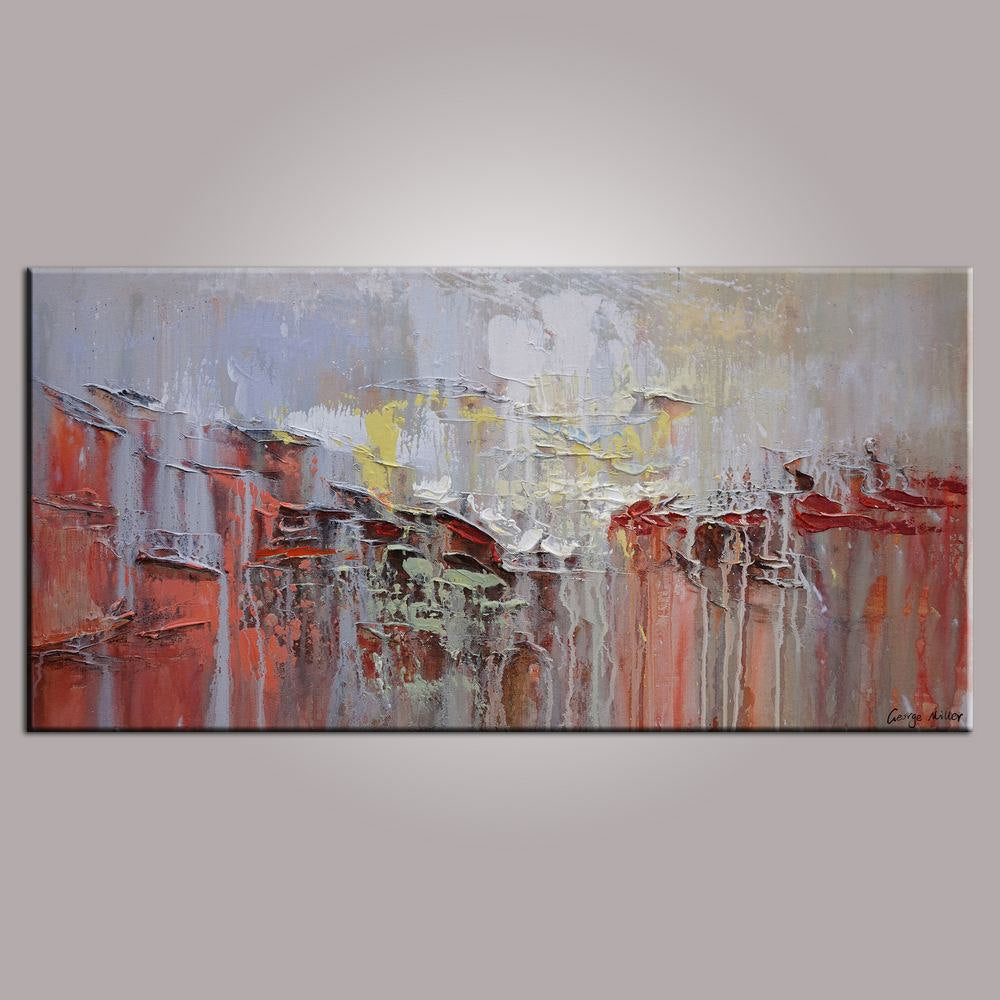 Abstract Painting, Modern Wal Art,  Original Artwork, Impasto Textured Fine Art, Ready to Hang, Vivid Red Color, Oil Painting, 20x40 inches