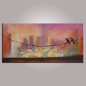 Abstract Painting, Birds Art, Large Canvas Painting, Original Abstract Painting, Contemporary Art, Canvas Wall Decor, Abstract Art, 24x48""