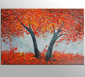 Oil Painting, Landscape Painting, Living Room Wall Decor, Canvas Painting, Original Painting, Palette Knife Art, Modern Painting, Red Forest
