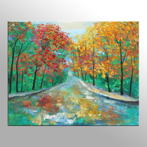 Autumn Landscape Oil Painting, Kitchen Wall Art, Canvas Painting, Canvas Wall Decor, Original Landscape Painting, Palette Knife Painting