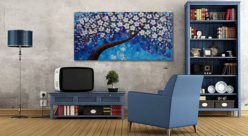 Contemporary Art, Kitchen Decor, Tree Painting, Oil Painting, Original Abstract Oil Painting, Large Canvas Painting, Floral Art