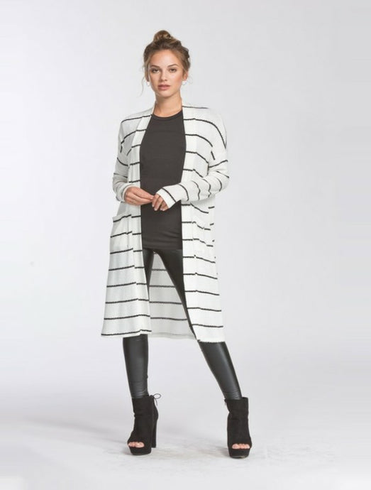 Kayla Striped Cardigan in Ivory