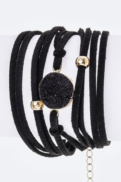 Black Suede Round Glam Rock Bracelet - So Modish Boutique