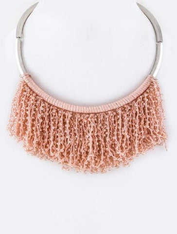 Fringe Beaded Collar Necklace in Pink