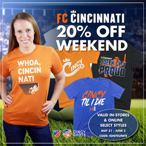 Shop Our 20% Off FC Cincinnati Weekend Sale!