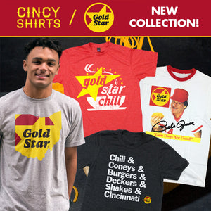 Cincy Shirts' Official Collection of Gold Star Chili Apparel!