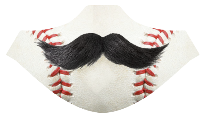 Baseball Mustache Sublimated Mask - Cincy Shirts