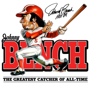 Johnny Bench Caricature T-shirt full image