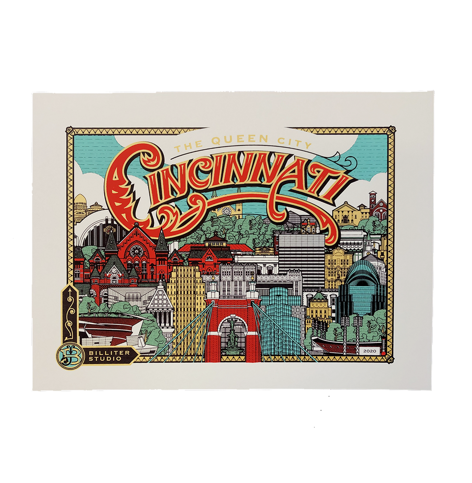 Cincinnati Heritage Skyline - James Billiter Limited Edition Print - Cincy Shirts