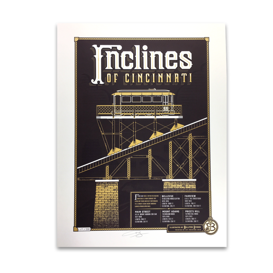 Inclines of Cincinnati - James Billiter Studios Limited Edition Print - Cincy Shirts