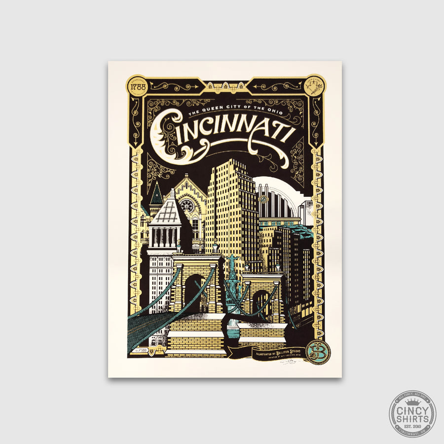 Cincinnati Heritage Riverfront - James Billiter Studio Limited Edition Print - Cincy Shirts