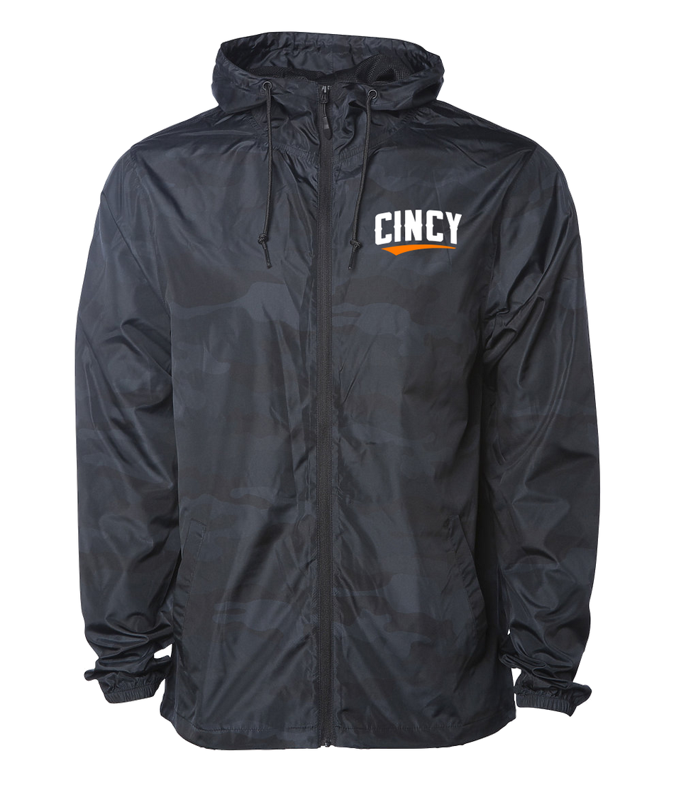 Cincy Orange Swoop Windbreaker Camo Black