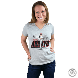 Bronson Arroyo Women's V-Neck - Hall of Heroes - Cincy Shirts