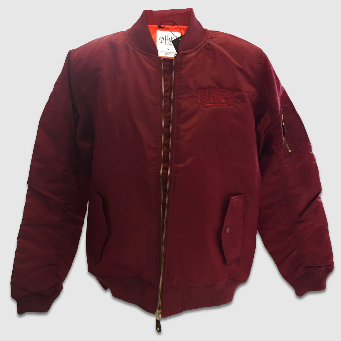 Maroon Cincy Swoop Zip-Up Bomber Jacket - Cincy Shirts