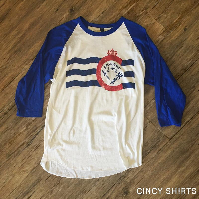 Cincinnati Flag 3/4 Raglan - Cincy Shirts