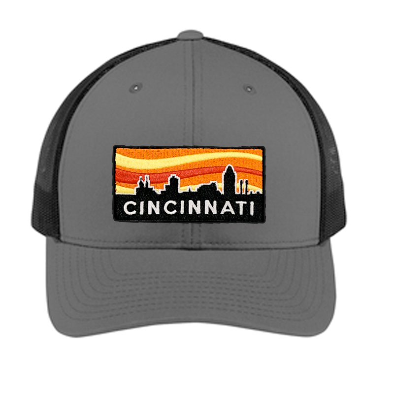 Cincinnati Sunset Curved Bill Snapback Hat - Cincy Shirts