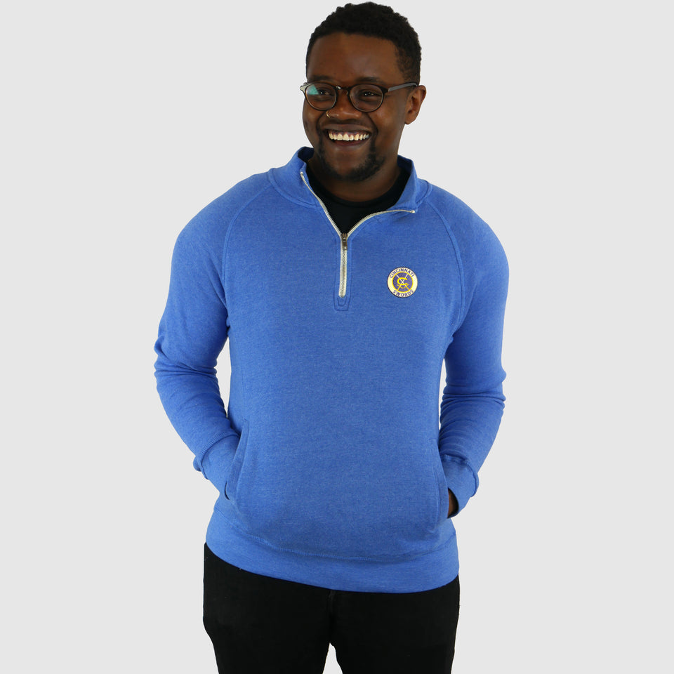 Swords Embroidered 1/4 Zip Royal Fleece Pullover - Cincy Shirts