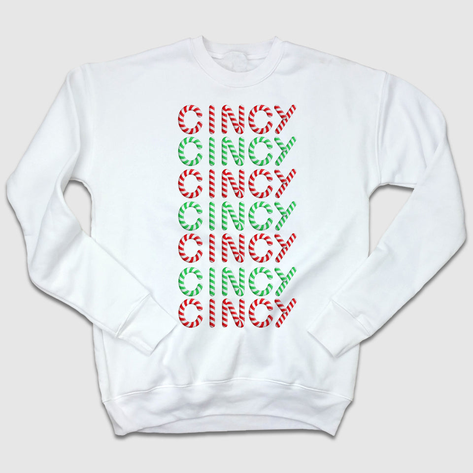 Cincy Candy Cane Ugly Christmas Sweatshirt - Cincy Shirts