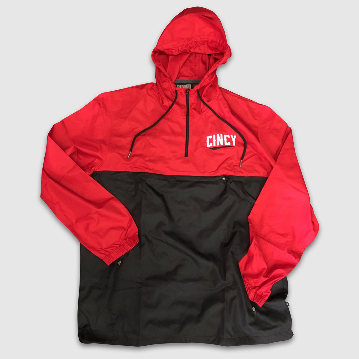 "Red & Black ""CINCY"" Swoop Lightweight Windbreaker Jacket - Cincy Shirts"