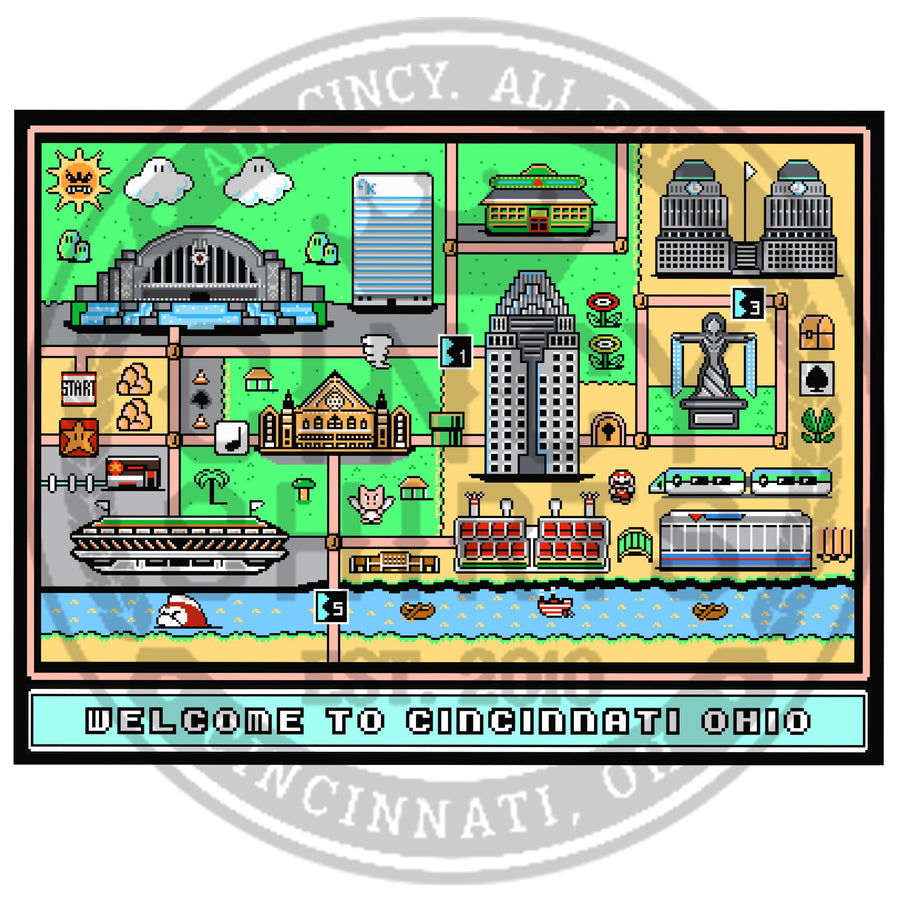 8-Bit Cincinnati, Ohio Map - Cincy Shirts