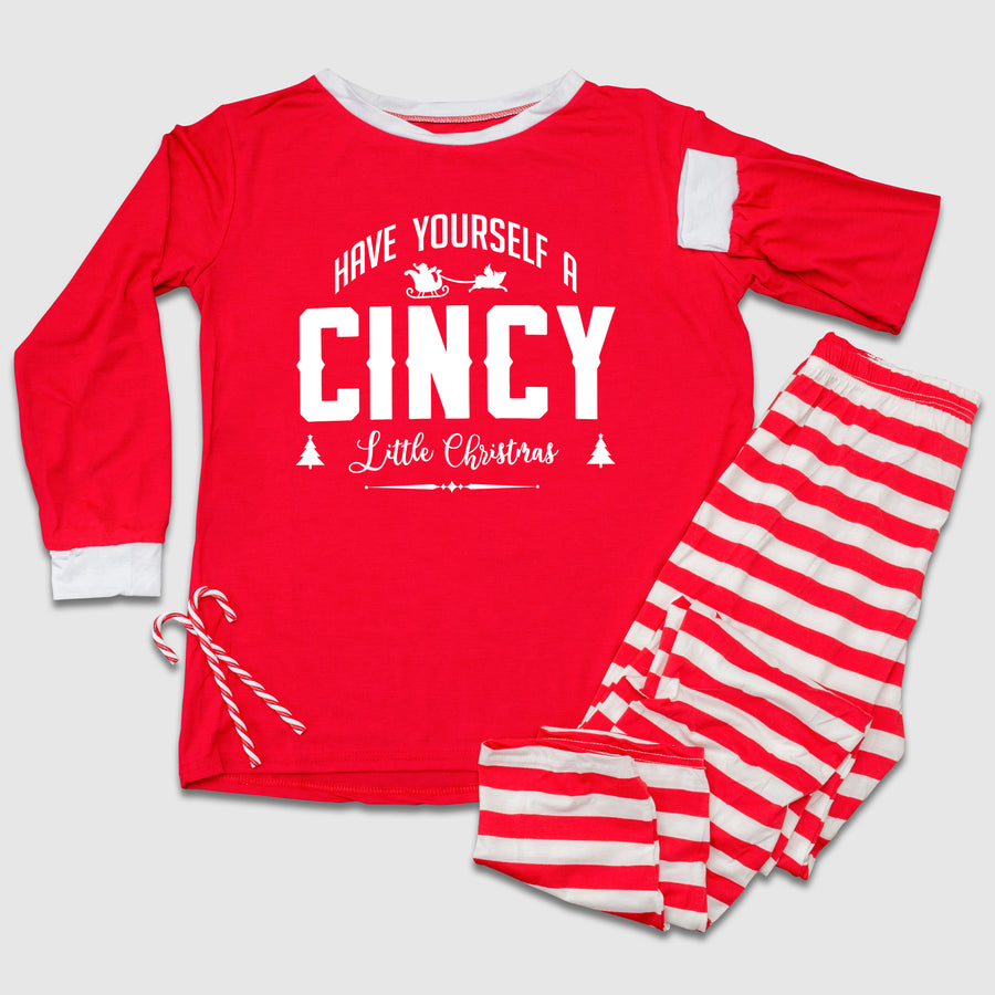 Have Yourself A CINCY Christmas Red & White Stripped Christmas Pajama Set - Cincy Shirts