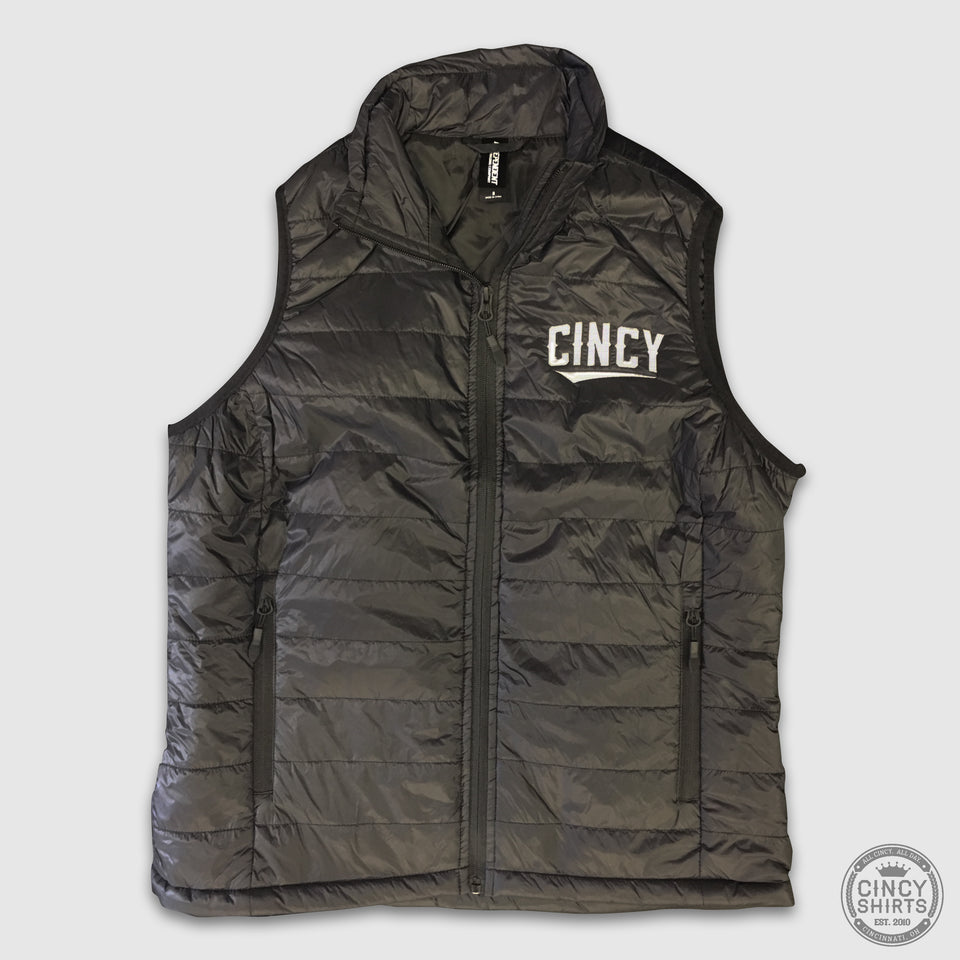 "Women's Hyper-Loft ""CINCY"" Swoop Puffy Vest - Cincy Shirts"