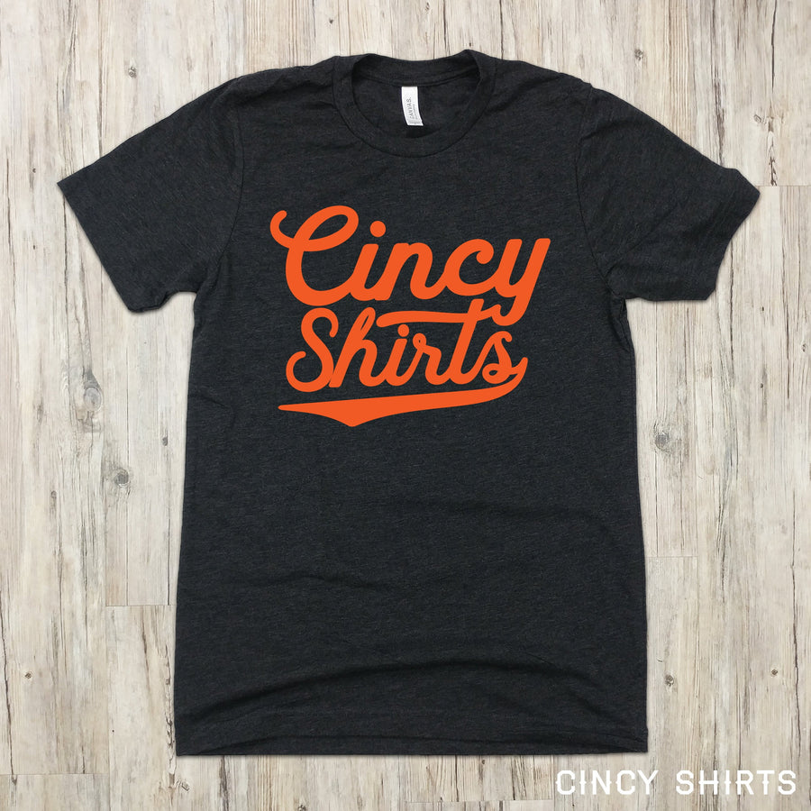 Cincy Shirts Brand orange logo on blue T-shirt
