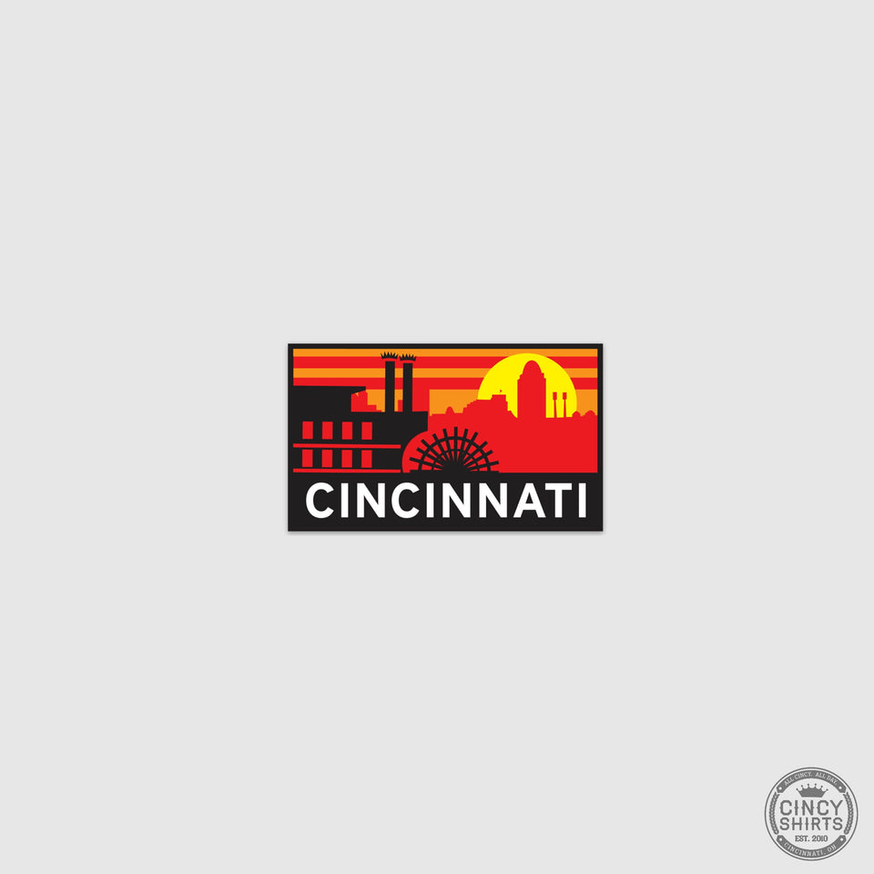 Cincinnati Steamboat Sunset Sticker - Cincy Shirts