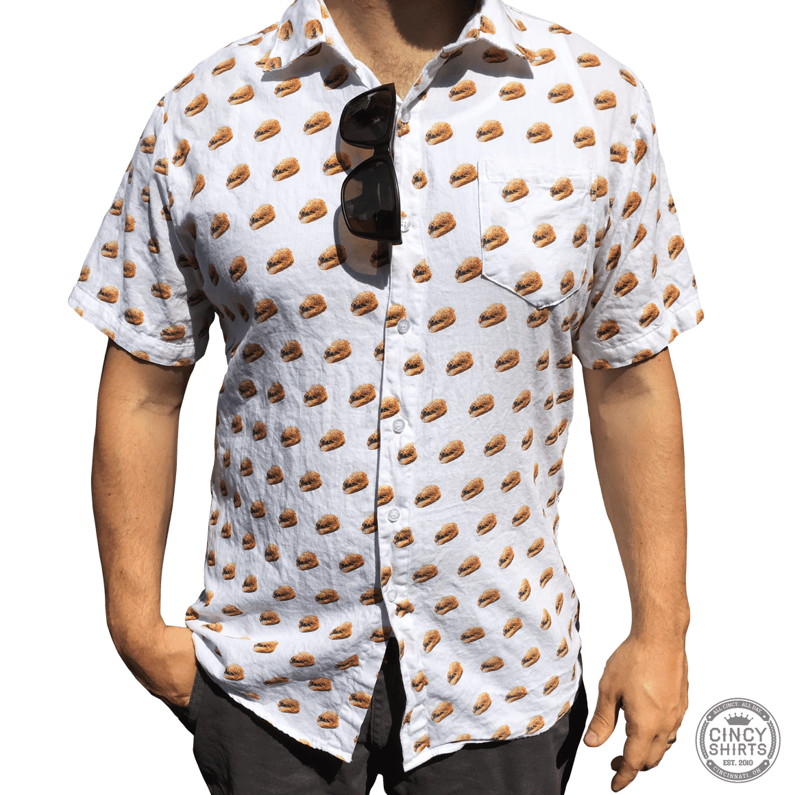 Cheese Coney Short Sleeve Button-Down - Cincy Shirts