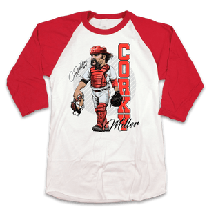 Corky Miller - Hall of Heroes Baseball Tee white