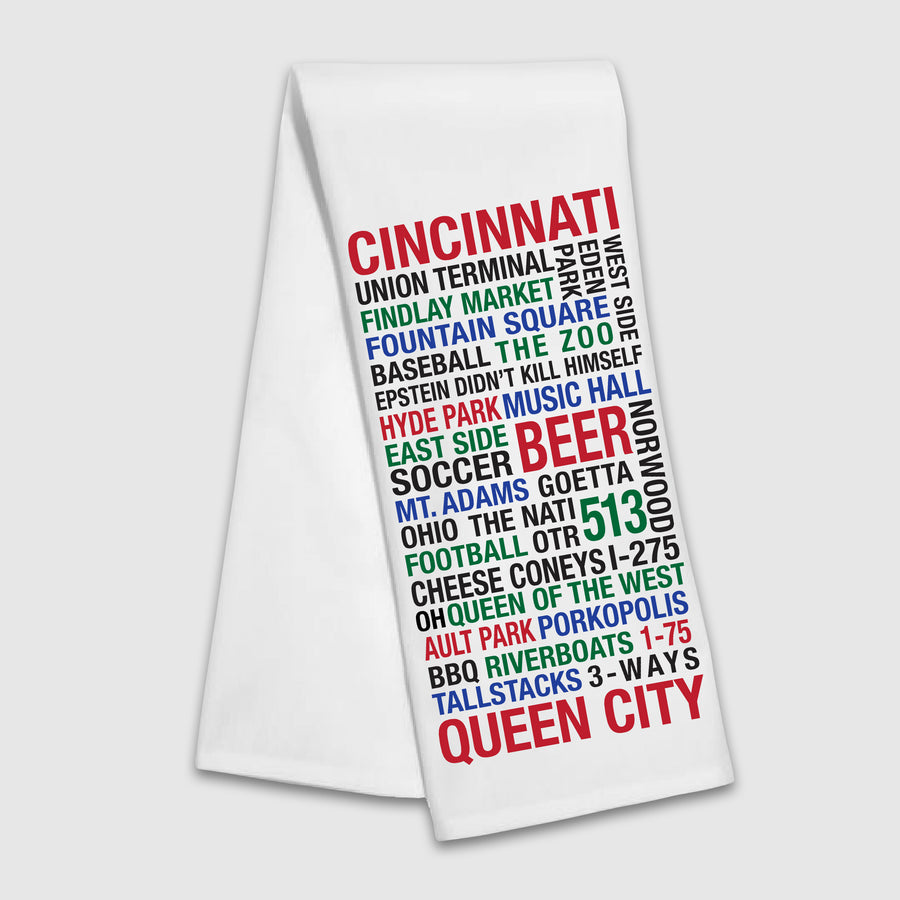 Queen City Epstein Tea Towel - Cincy Shirts