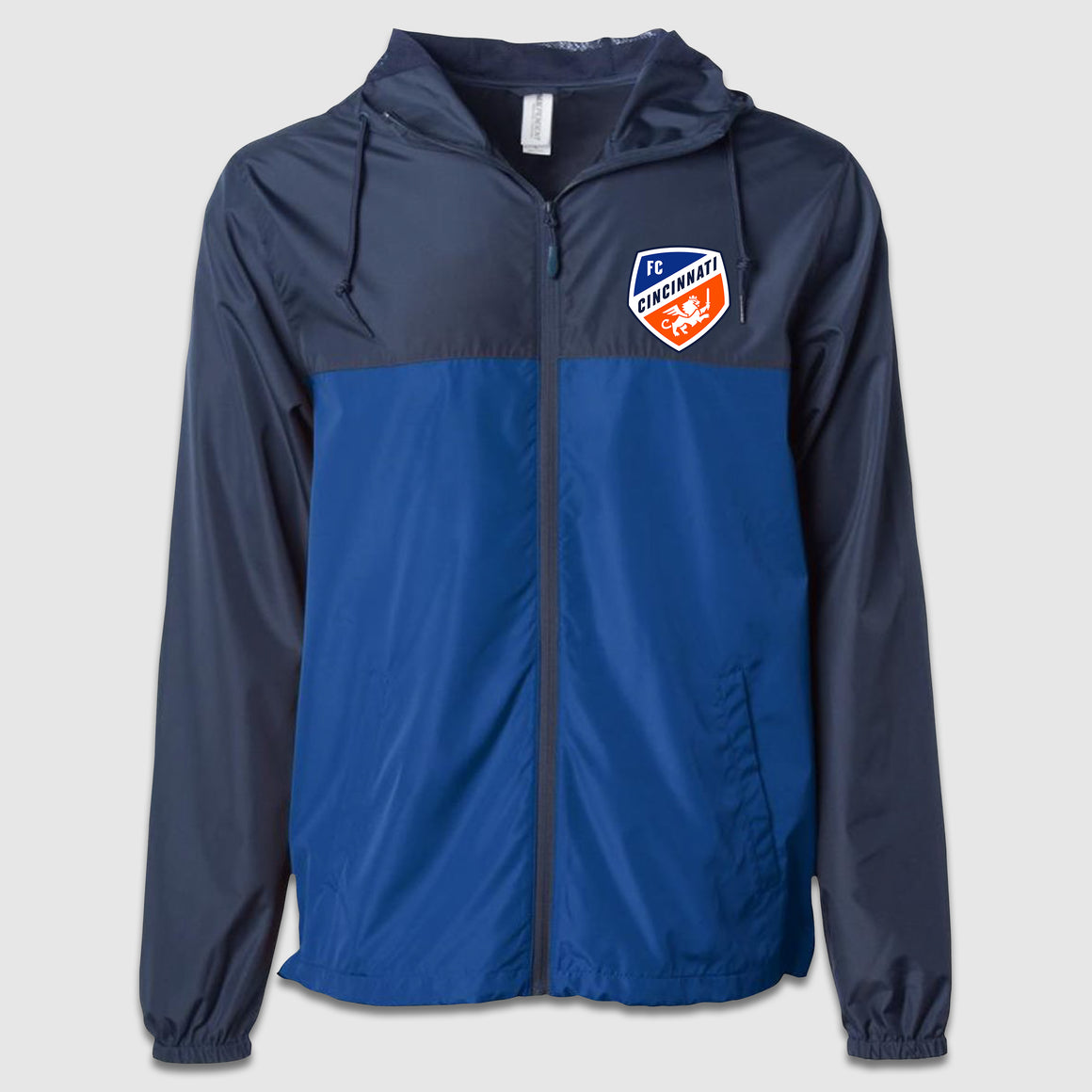 Full Zip FC Cincinnati Full Color Shield Royal/Navy Windbreaker Jacket - Cincy Shirts