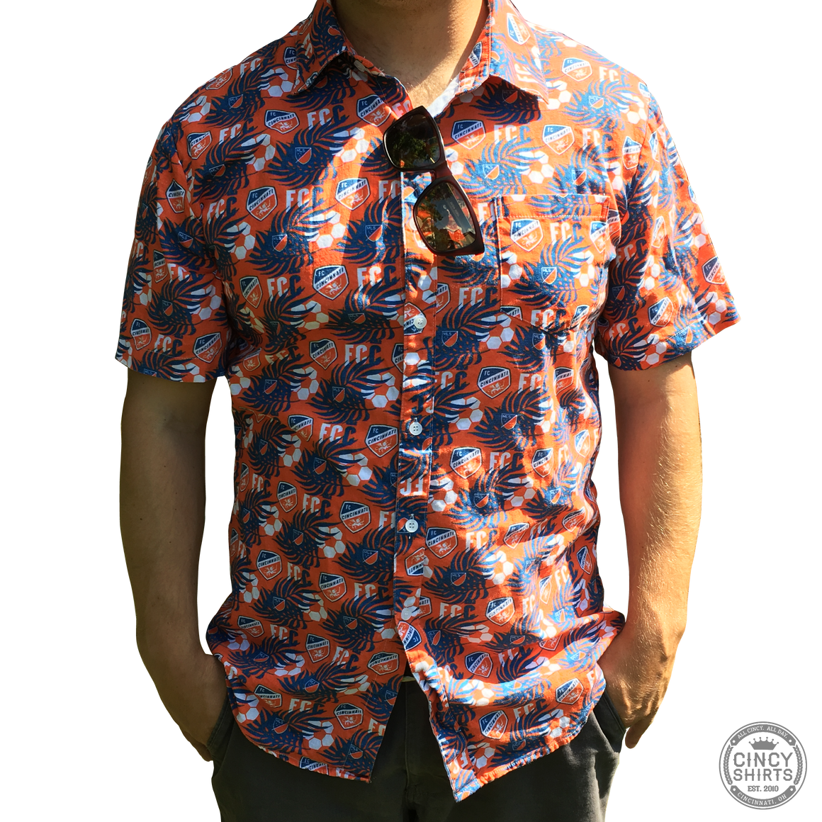 FC Cincinnati Short Sleeve Hawaiian Button-Down - Cincy Shirts