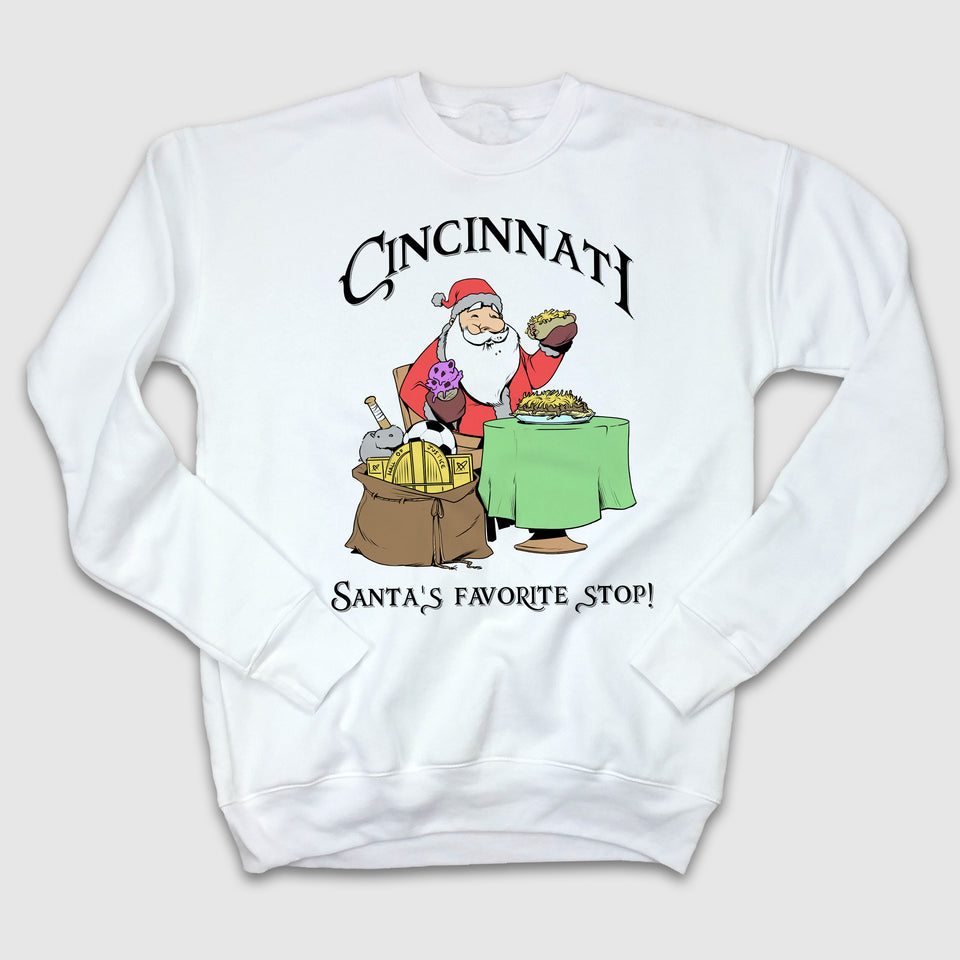 Santa's Favorite Stop Crewneck Sweatshirt - Cincy Shirts