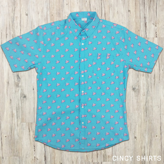 Flying Pig - Short Sleeve Button-Down shirt