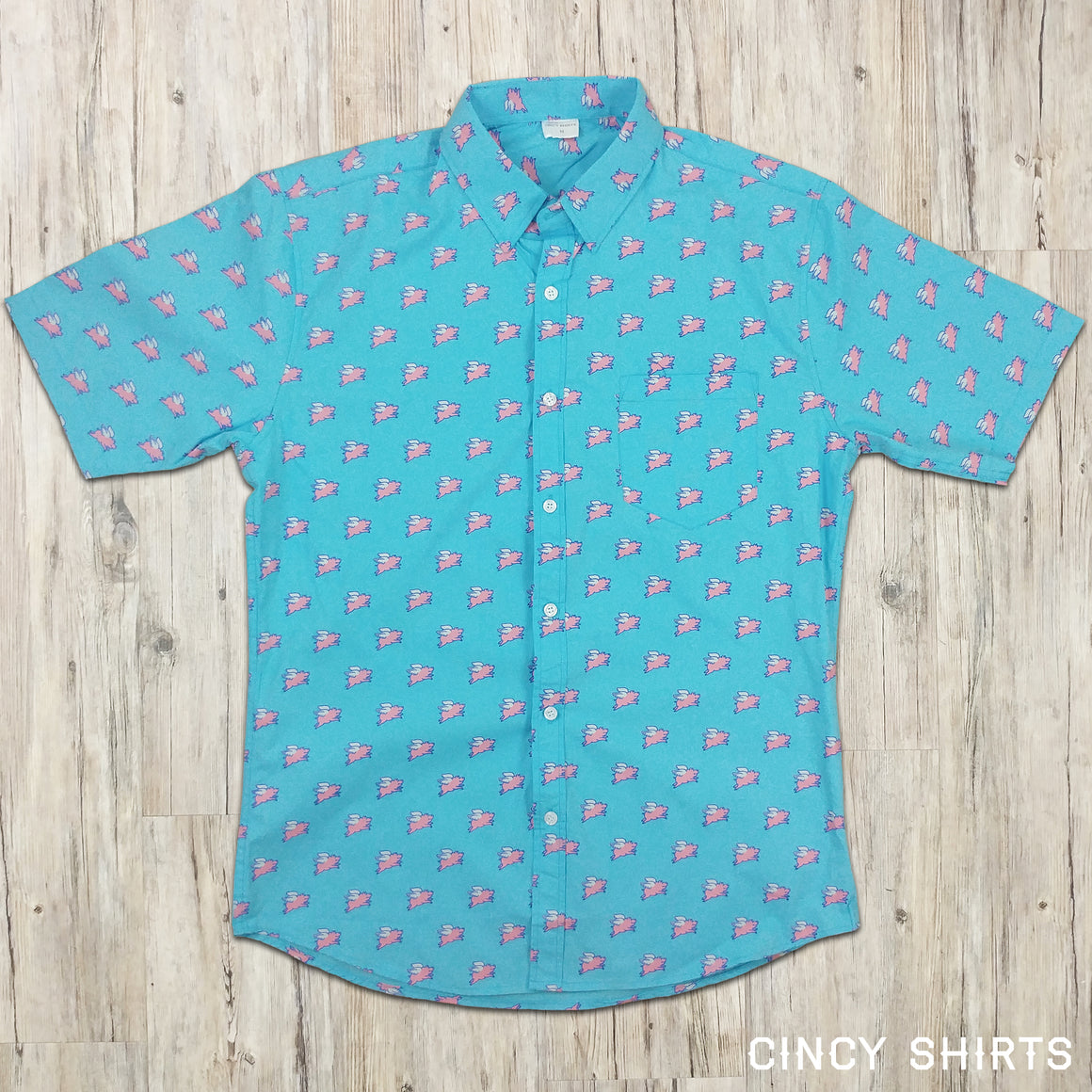 Flying Pig - Short Sleeve Button-Down - Cincy Shirts
