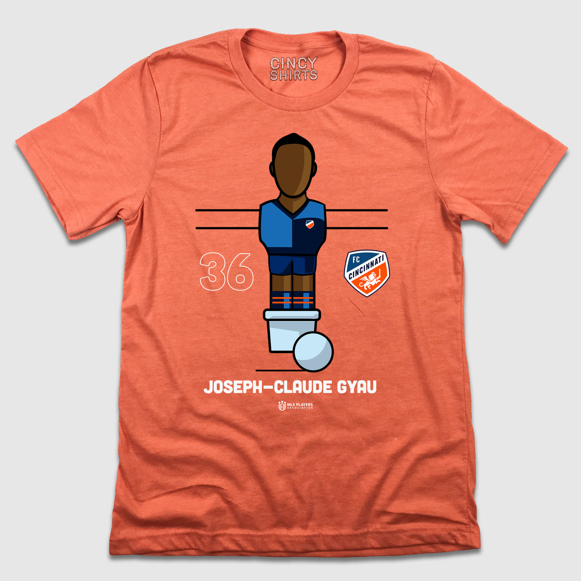 Official Joseph-Claude Gyau MLSPA Foosball Tee - Cincy Shirts