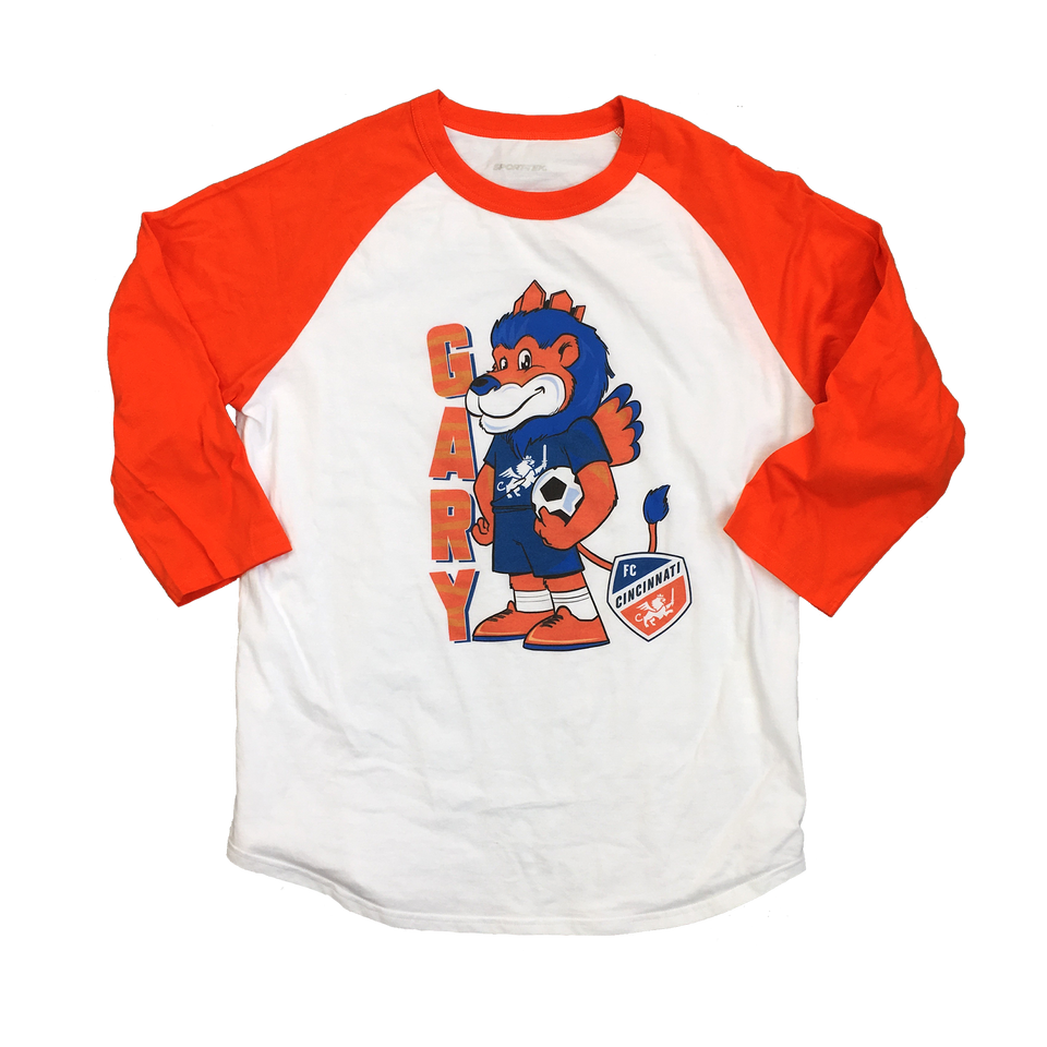 Gary The Lion Orange Raglan - Cincy Shirts