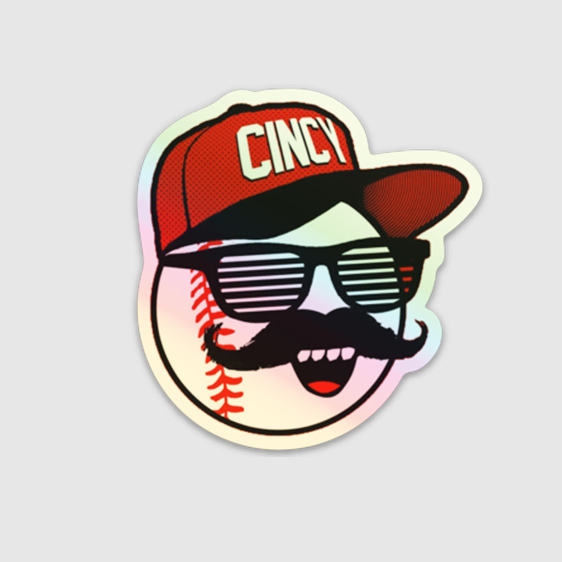 Holographic Mr. Red Shades Sticker - Cincy Shirts