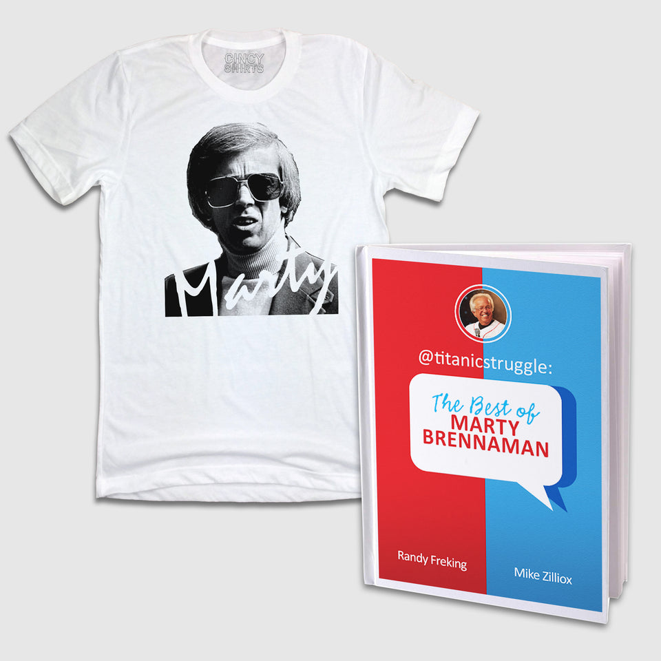 "@titanicstruggle: The Best of Marty Brennaman Book & ""Marty Party"" Tee Combo - Cincy Shirts"