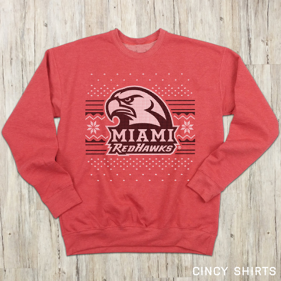 Miami Redhawks Ugly Christmas Sweatshirt - Cincy Shirts