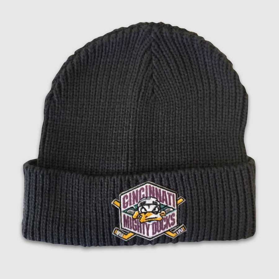 Mighty Ducks Charcoal Knit Beanie - Cincy Shirts