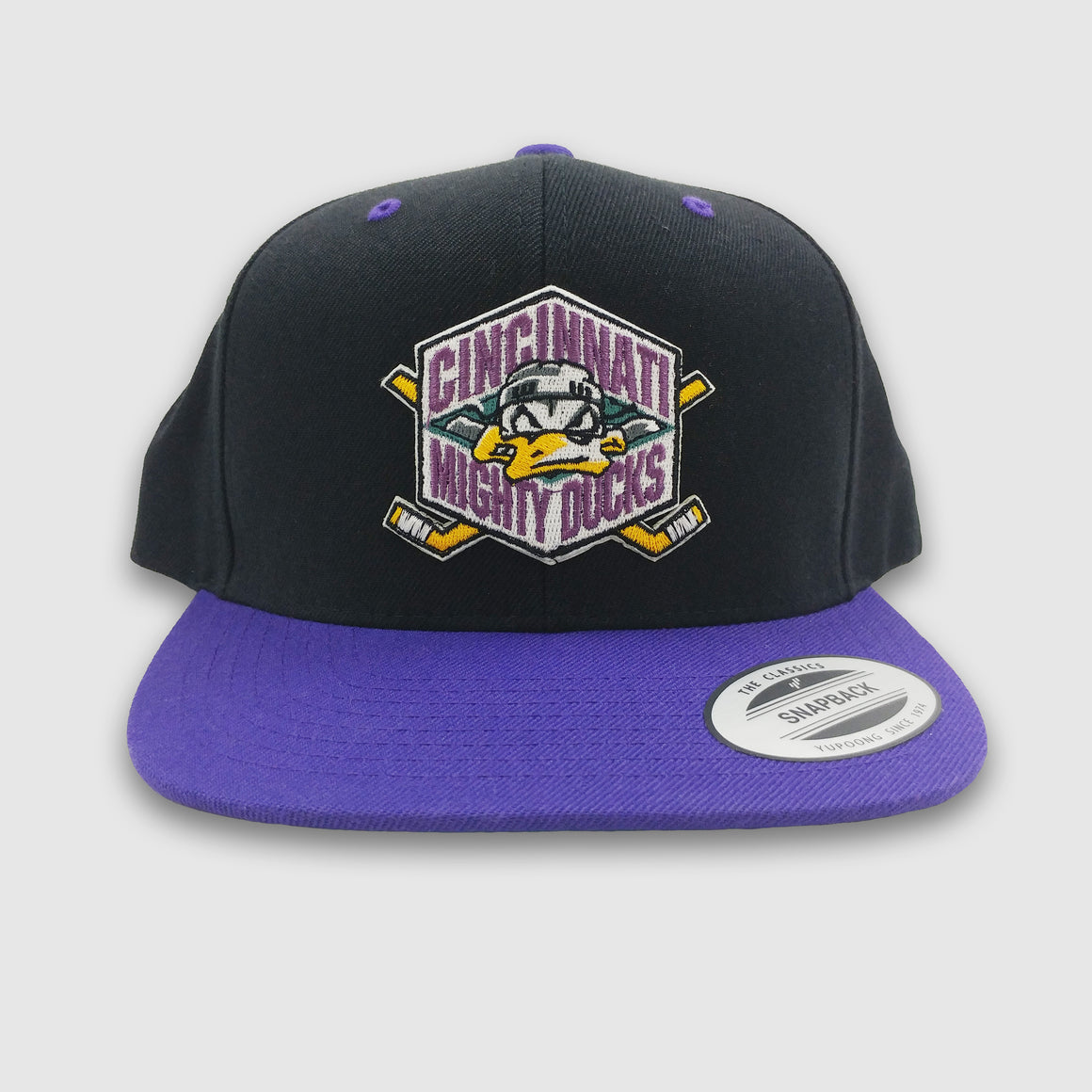 Mighty Ducks Logo - Flat Bill Hat - Cincy Shirts