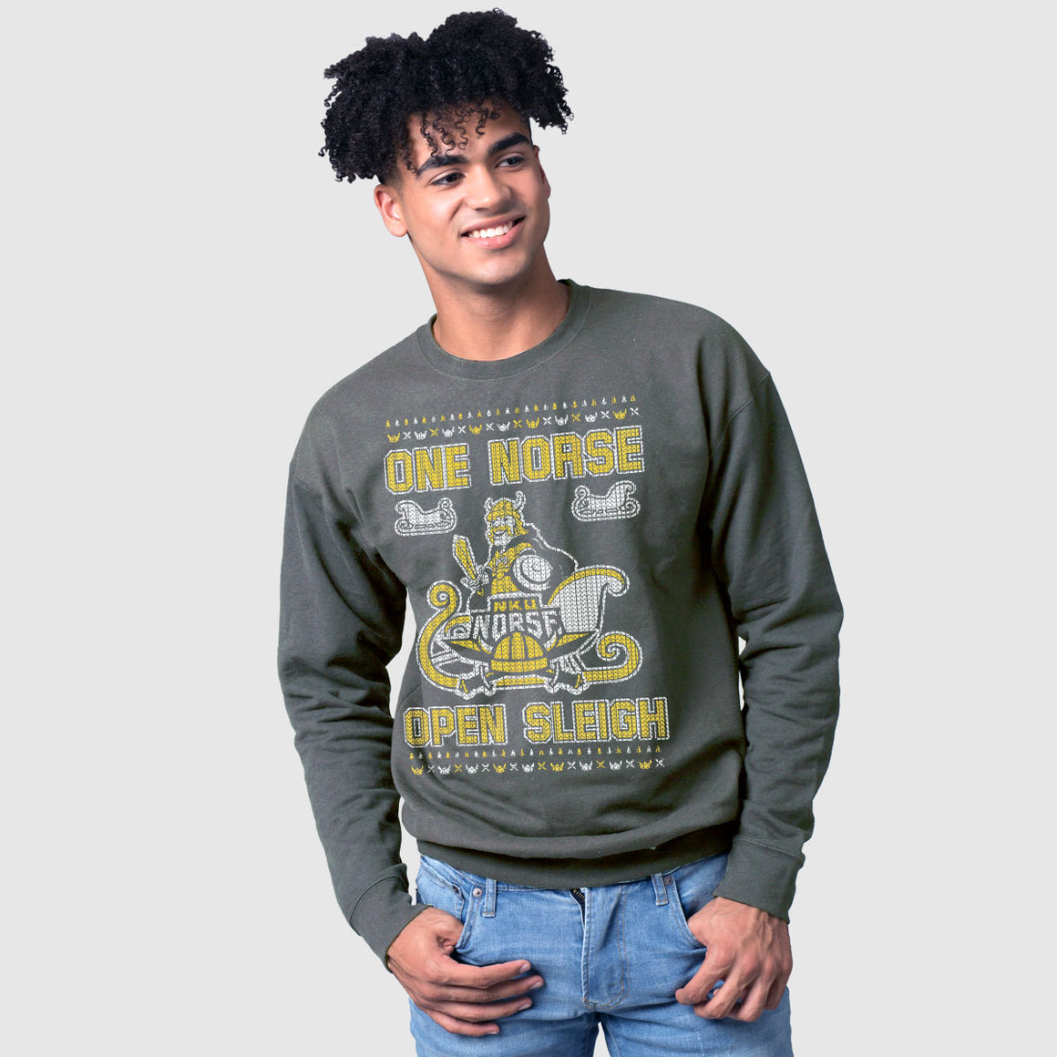NKU One Norse Open Sleigh Ugly Christmas Sweatshirt - Cincy Shirts