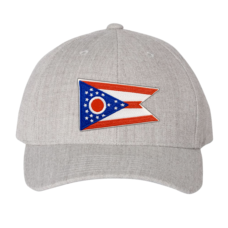 Ohio Flag Heather Grey Curved Bill Snapback Hat - Cincy Shirts