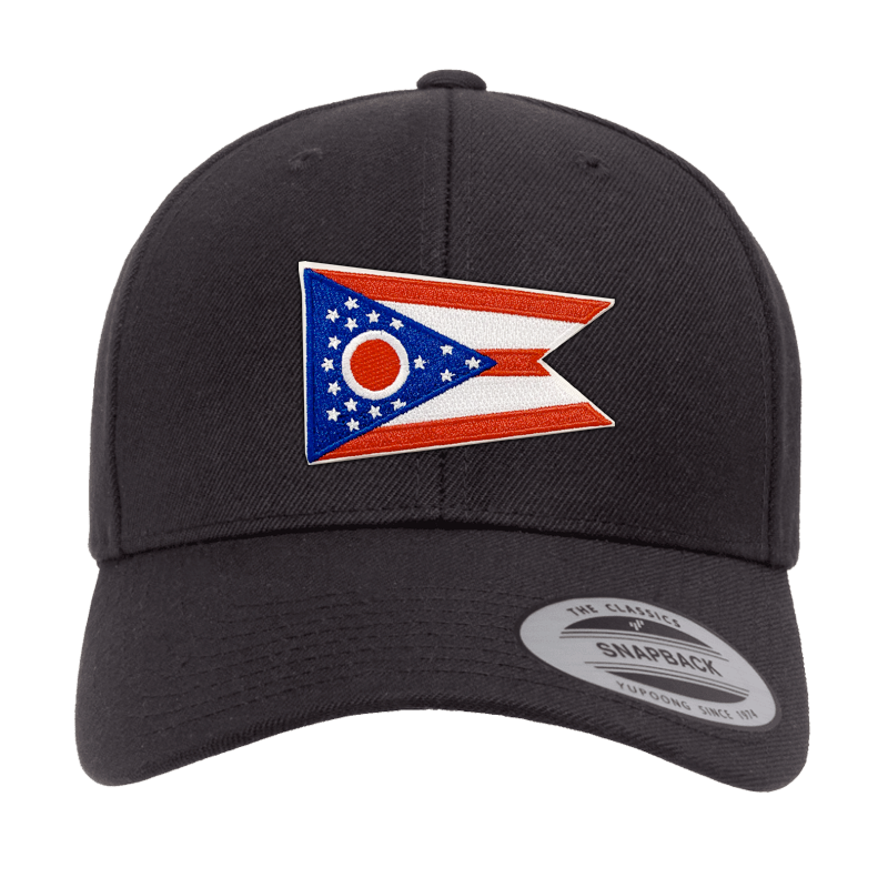 Ohio Flag Black Curved Bill Snapback Hat - Cincy Shirts