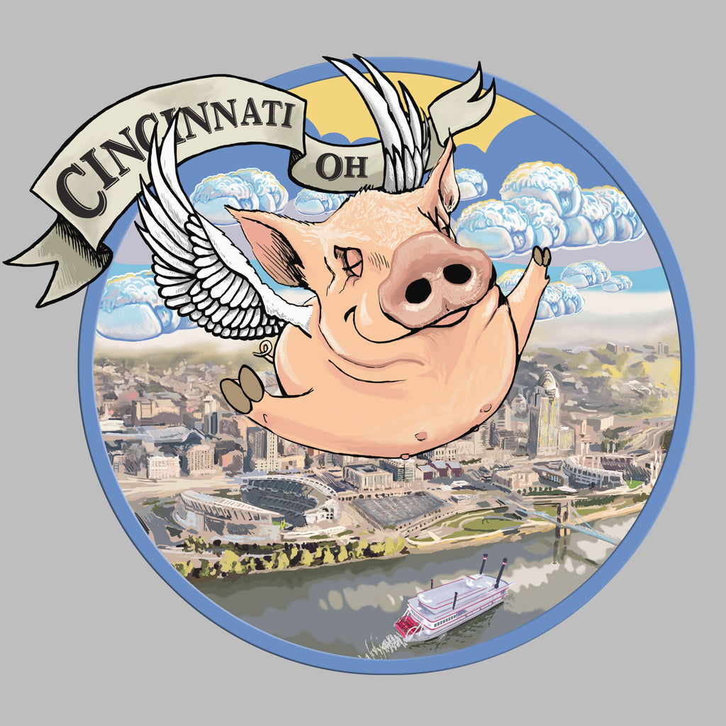Flying Pig Over City