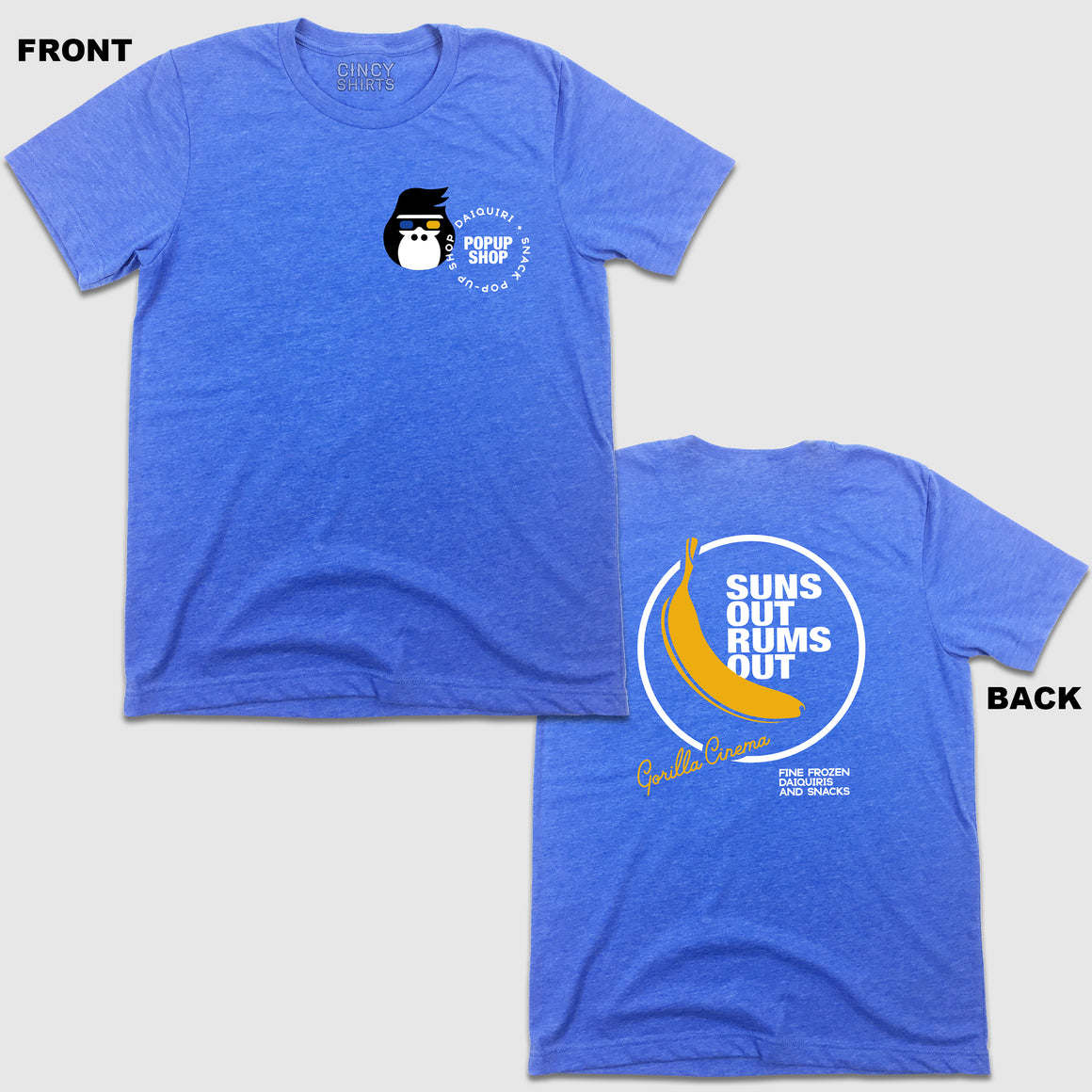 "Gorilla Cinema Presents ""Suns Out Rums Out"" - Royal Blue Tee - Cincy Shirts"
