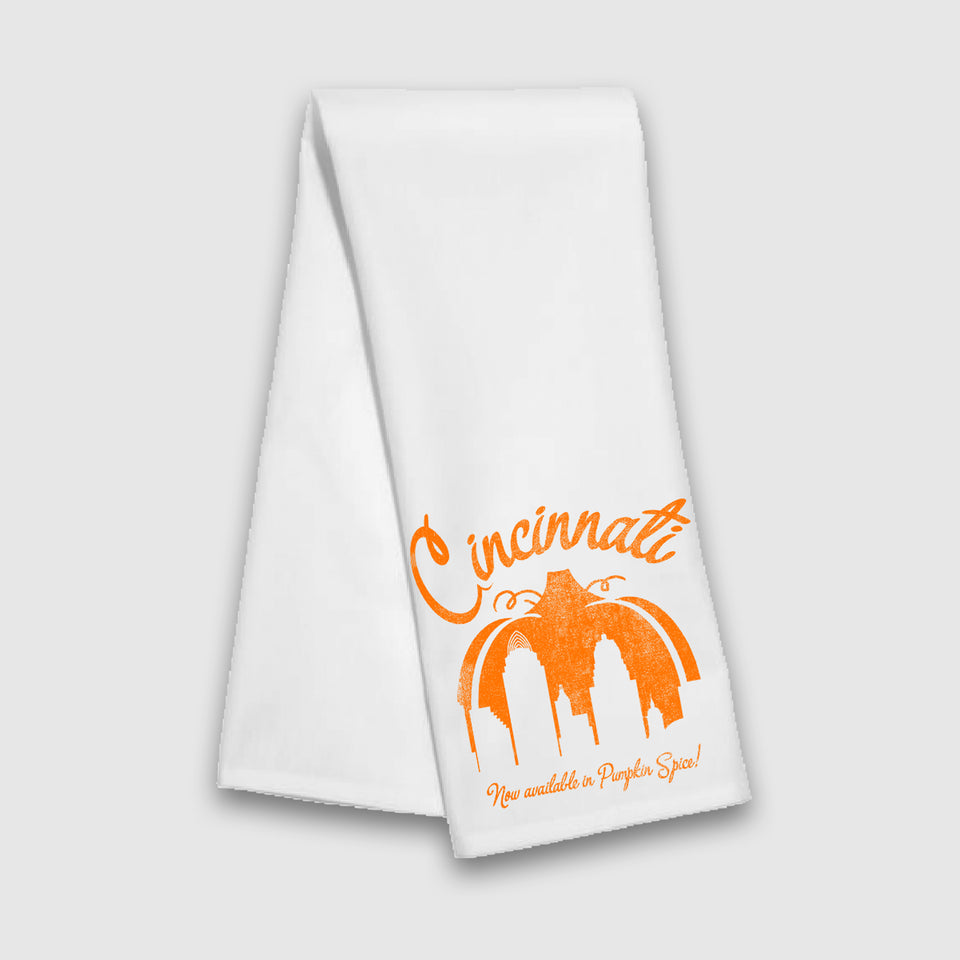 Now Available in Pumpkin Spice Tea Towel - Cincy Shirts
