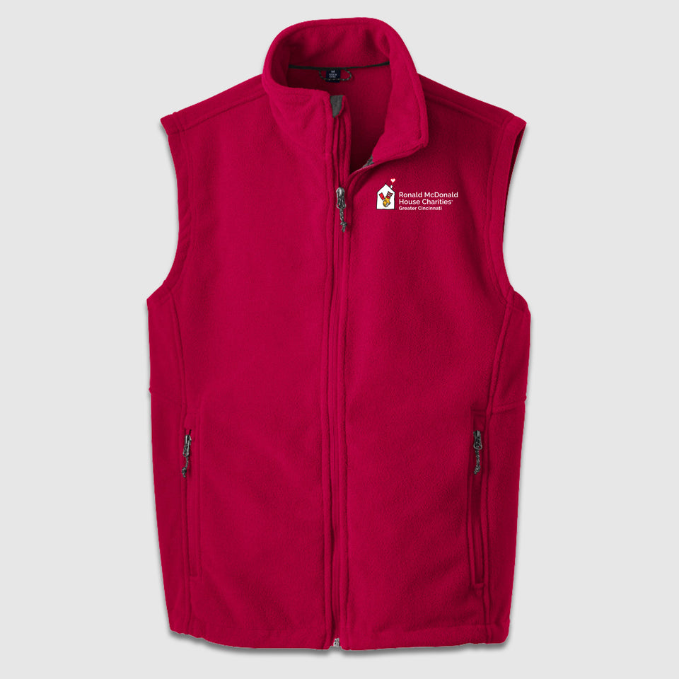 Port Authority Fleece Vest Ronald McDonald House Chest Logo - Cincy Shirts